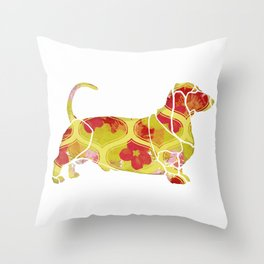 Garden Charm IV:  Shabby Floral and Geometric in Bright Orange and Yellow with Dog Throw Pillow