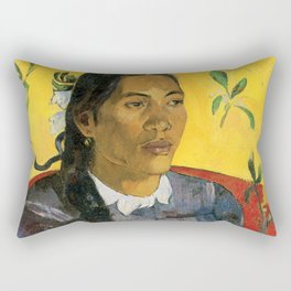 Tahitian Woman with a Flower by Paul Gauguin Rectangular Pillow
