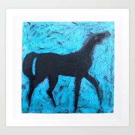 Shadow Horse on Blue Art Print