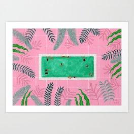 Pink riad pool Art Print