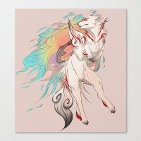 okami Canvas Prints featuring OKAMI SHIRANUI by Morguesque