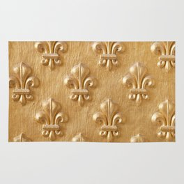 Golden Fleur de lys wood wall Rug