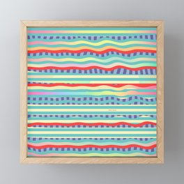 RED WAVES BLUE TIDE Framed Mini Art Print