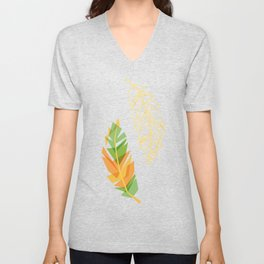 Feather pattern Unisex V-Neck