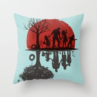 dead Throw Pillows featuring A Family Once by Jay Fleck