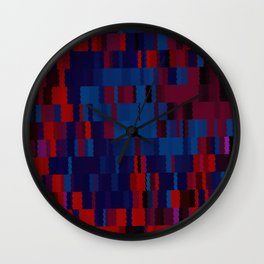 Red and Blue Digi Fractal Wall Clock