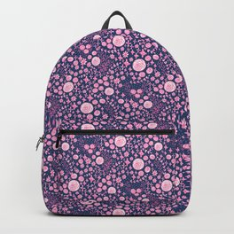 Abstract pink garden pattern in blue marine background Backpack