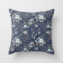 Star Sapphire Floral Throw Pillow