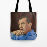andreas preis Tote Bags featuring Andreas Antonopoulos by The Colors of Bitcoin: Bitcoin Art