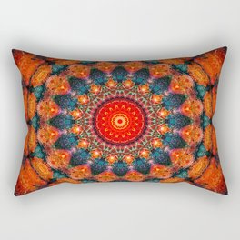 Tangerine Orange Mandala Design Rectangular Pillow
