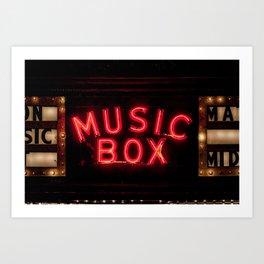 The Music Box Neon Sign Chicago Illinois Arthouse Theatre Vintage Cinema Movie House Theater Art Print