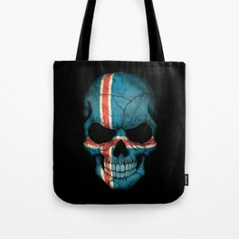 Dark Skull with Flag of Iceland Tote Bag