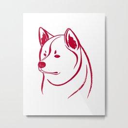 Akita Inu (White and Red) Metal Print