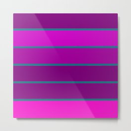 StrIpEs Fuchsia Grape Purple Teal Metal Print
