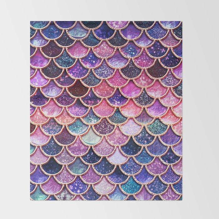 Pink & Purple Trendy Glitter Mermaid Scales  Throw Blanket