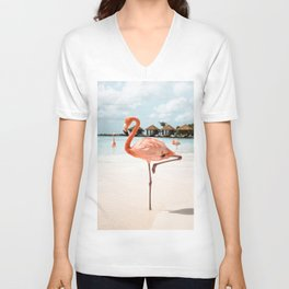 Travel Photography Art Print | Pink Flamingo Beach Photo | Aruba Island Tropical Summer Bird  Unisex V-Neck