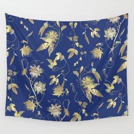 Elegant Gold Blue Passiflora Pattern Wall Tapestry