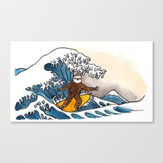 Sloth riding the Great Wave Canvas Print