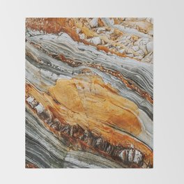 Gray Copper Marbled Petrified Wood Throw Blanket