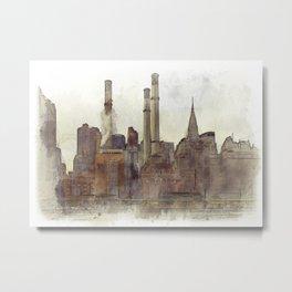 Manhatten Heating Station - SKETCH Metal Print
