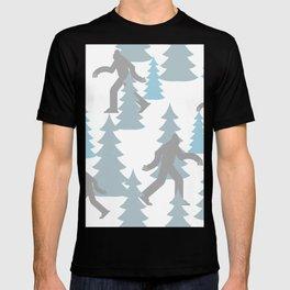 Pastel Blue Grey Winter Forest Yeti sasquatch silhouette  Abominable Snowman BigFoot  T-shirt