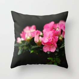 Flower - Pink & Black Throw Pillow