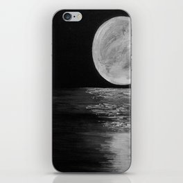 Full Moon, Moonlight Water, Moon at Night Painting by Jodi Tomer. Black and White iPhone Skin