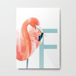 F - Flamingo Metal Print