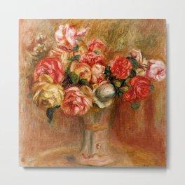 """Auguste Renoir """"Roses dans un vase de Sèvres"""" Metal Print"""