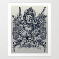 ganesh Art Prints featuring Ganesh by MR VELA