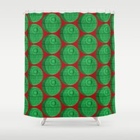 death star Shower Curtains featuring Star Wars Christmas Death Star by foreverwars