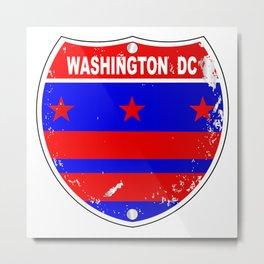 Washington DC Flag Icons As Interstate Sign Metal Print
