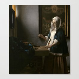 Woman Holding a Balance Oil Painting by Johannes Vermeer Canvas Print
