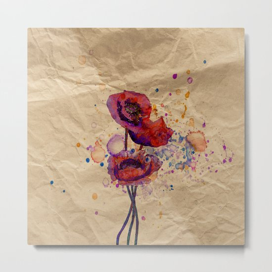 Poppies - abstract watercolor drawing Metal Print