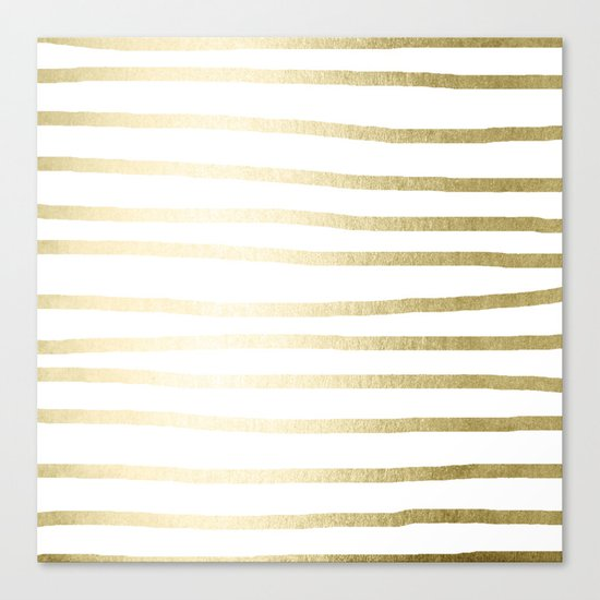Simply Drawn Stripes Gilded Palace Gold Canvas Print