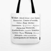 writer Tote Bags featuring Writer by Rebekah Joan