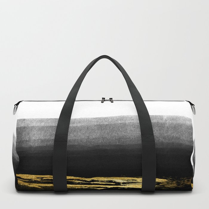 Black & Gold Stripes on White - Mix & Match with Simplicty of life Duffle Bag