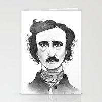 edgar allan poe Stationery Cards featuring Edgar Allan Poe by Sydney Morrow