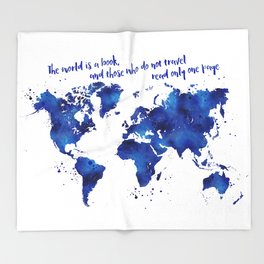 The world is a book, world map in shades of blue watercolor Throw Blanket