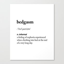 Bedgasm black and white contemporary minimalism typography design home wall decor bedroom Canvas Print