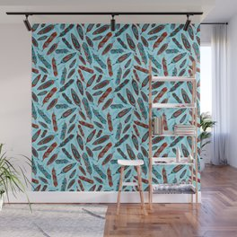 Tlingit Feathers Blue Wall Mural