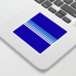 Retro Stripes on Blue Sticker