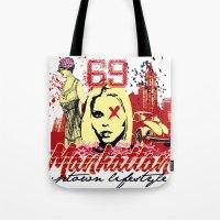 manhattan Tote Bags featuring Manhattan  by Tshirt-Factory