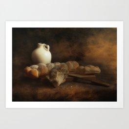Stil life - Ceramic Wine Pot and Bread Art Print