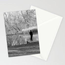 Lonely man by the lake Stationery Cards
