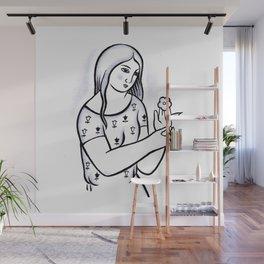 Girl with flower (from Mikuláš Galanda) Wall Mural