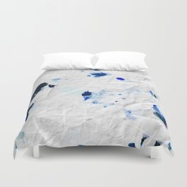 Accidental Blue and Black Ink Spot Abstract Art Duvet Cover