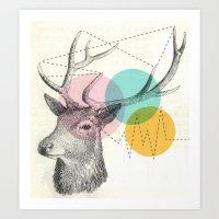 stitch Art Prints featuring stitch doe by Vin Zzep