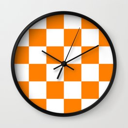 Large Checkered - White and Orange Wall Clock