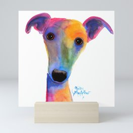 Nosey Dog Whippet Greyhound ' PANSY ' by Shirley MacArthur Mini Art Print